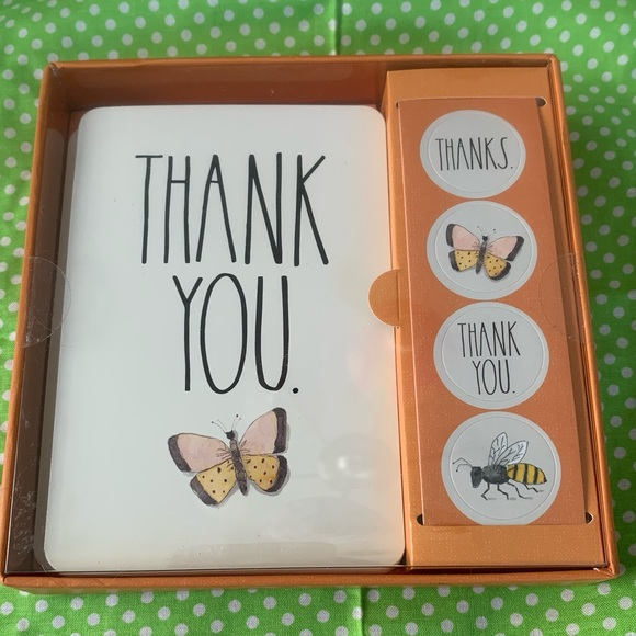 NWT Rae Dunn Thank You Note Set (Butterflies)